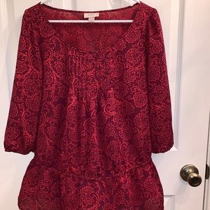 Ann Taylor Loft Red and Orange Top